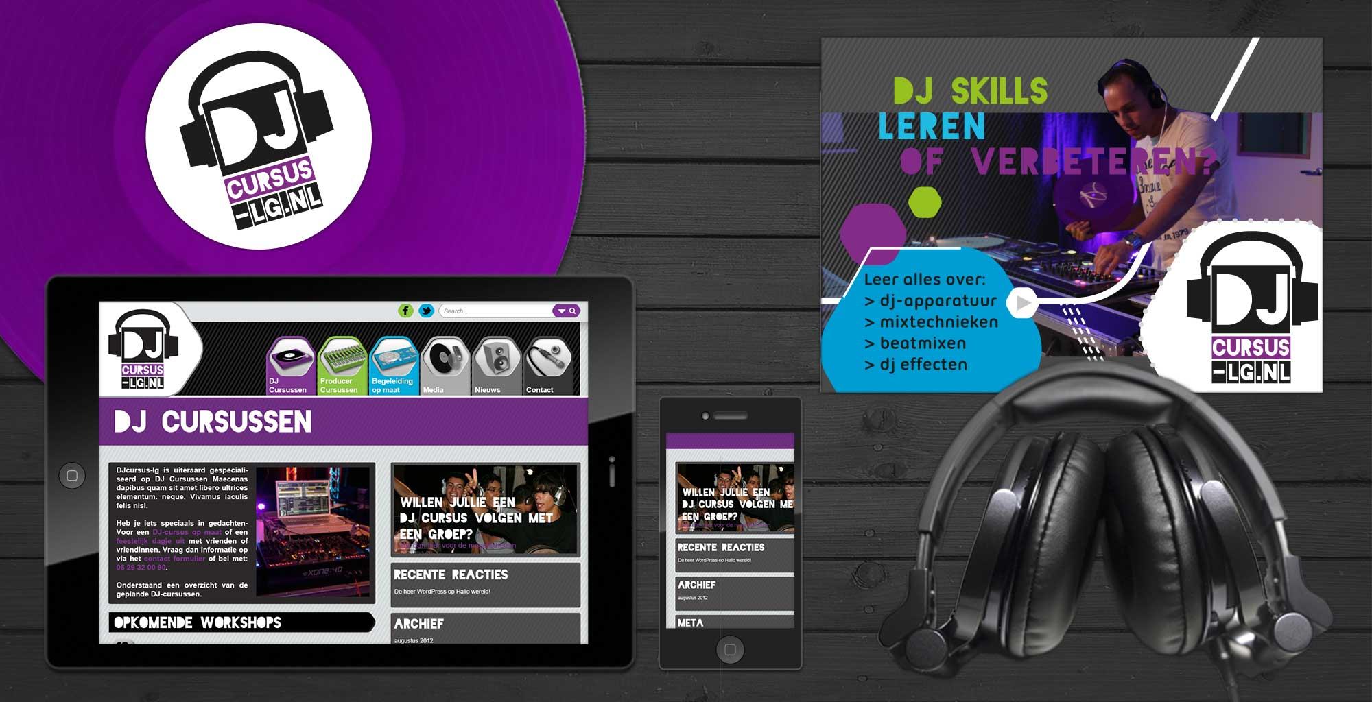 Voor DJ Cursus-LG ontwierp OP3N een passende en spannende technische huisstijl inclusief website.